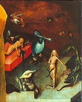 Hieronymus Bosch: Weltgerichts-Triptychon. Detail aus der Mitteltafel. (Weibl.Akt mit Drachen)