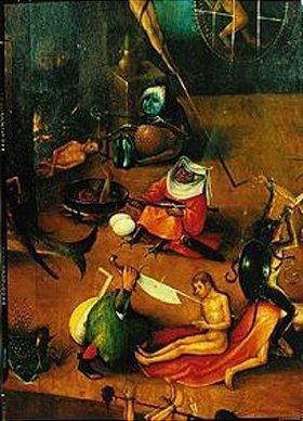 Hieronymus Bosch: Weltgerichts-Triptychon. Detail aus der Mitteltafel. (Marterszenen)