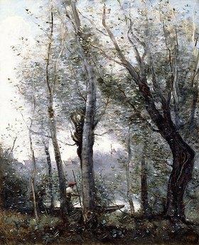 Jean-Baptiste Camille Corot: Ein Flussschiffer fährt hinter Bäumen vorbei (Le Batelier passant derrière les Arbres de la Rive)