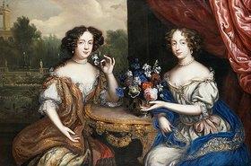 Henri Gascar: Doppelporträt von Lady Maria Somalia und Lady Anne Barrington an einem Tisch mit Blumen