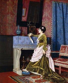 Auguste Toulmouche: Dame an einem Kamin