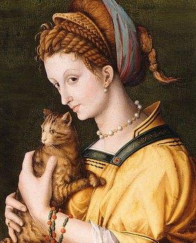Bacchiacca (Francesco Umbertini Verdi): Dame mit einer Katze