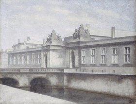 Vilhelm Hammershoi: Die Marmorbroen (Marmorbrücke), Schloss Christiansborg, Kopenhagen