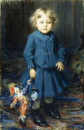 Georges Picard: Porträt eines Kindes mit seiner Puppe