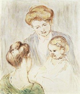 Mary Cassatt: Lächelndes Baby mit zwei jungen Mädchen