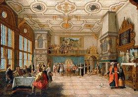 Nicolas de Gyselaer: Lazarus betritt einen Festsaal, wo ein Bankett stattfindet