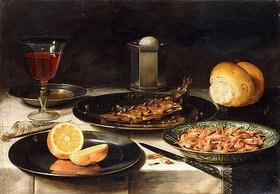 Clara Peeters: Ein Hering mit Kapern, eine aufgeschnittene Orange und eine Schale mit Krabben