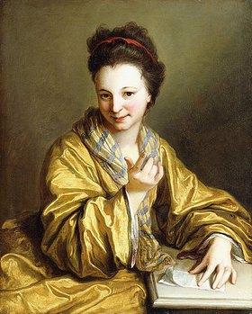 Jean Baptiste Santerre: Porträt einer jungen Dame in einem gelben Kleid, eine heranwinkende Geste machend