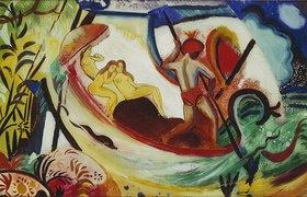 August Macke: Drei Mädchen in einer Barke