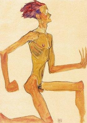 Egon Schiele: Kniender nackter Mann, im Profil nach rechts (Selbstbildnis)