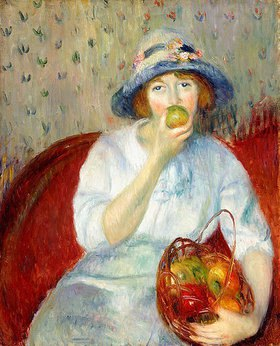 William James Glackens: Eine junge Frau ißt einen grünen Apfel
