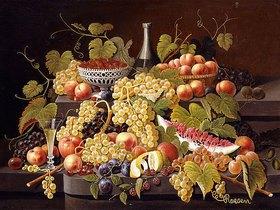 Severin Roesen: Stillleben mit Früchten und Champagner