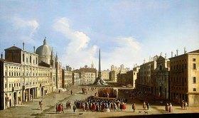 Francesco Tironi: Die Piazza Navona in Rom mit einer Commedia dell'Arte-Aufführung