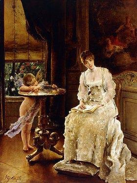 Alfred Stevens: Liebesbote (Sarah Bernhardt in einem Interieur)