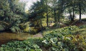 Peder Moensted: Flusslandschaft mit Bäumen und Rehen im Hintergrund