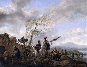 Philips Wouwerman: Eine weite Flusslandschaft mit Soldaten und einem Fahnenträger, die ihre Pferde tränken