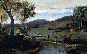 Jean-Baptiste Camille Corot: Römische Landschaft - steiniges Flusstal mit einer Schweineherde (Campagne Romaine - Vallée Rocheuse avec un Troupeau de Porcs)
