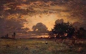 Theodore Rousseau: Sonnenuntergang über der Ebene von Barbizon