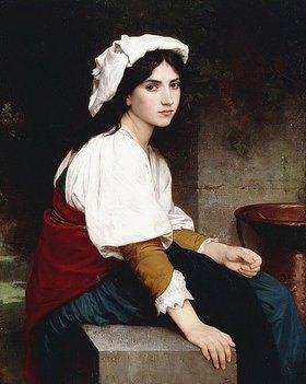 William Adolphe Bouguereau: Italienisches Mädchen an einem Brunnen (Italienne à la Fontaine)