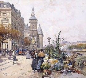 Eugene Galien-Laloue: Der Quai aux Fleurs und Conciergerie (La Quai aux Fleurs et la Conciergerie)