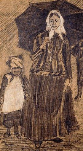 Vincent van Gogh: Sien unter einem Schirm mit einem Mädchen. 1882 (Clasina Hoornik, genannt Sien, war eine ledige Mutter eines 5-jährigen Kindes, mit der der Künstler einige Zeit lebte. Dieses ist eines der ersten Bilder, das van Gogh von ihr fertigte.)