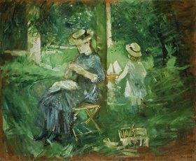Berthe Morisot: Handarbeitende junge Frau im Garten