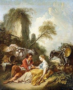 François Boucher: Pastorale mit einer Schäferin und einem Schäfer bei einer Ruine