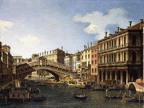 Canaletto (Giovanni Antonio Canal): Die Rialto Brücke in Venedig von Süden mit der Einschiffung des Prinzen von Sachsen während seines Besuchs