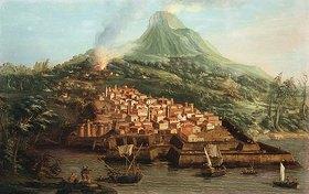 Canaletto (Giovanni Antonio Canal): Eine Vulkaninsel mit einem Hafen und Schiffen