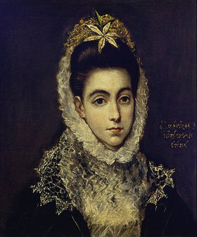 Greco El (Dominikos Theotokopoulos): Brustbild einer jungen Dame in einem schwarzen Kleid mit weißem Spitzenkragen und einer Blume im Haar