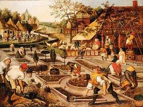 Pieter Brueghel d.J.: Frühling: Gärtner, Schafscherer und feiernde Bauern