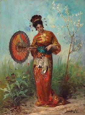 Pierre Marie Beyle: Eine Japanerin mit einem Sonnenschirm