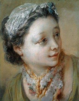 François Boucher: Porträt eines jungen Mädchens, ihren Kopf nach rechts gedreht