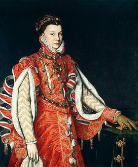 Alonso Sanchez Coello: Porträt einer Dame, Elisabeth von Valois, in einem roten, bestickten Kleid