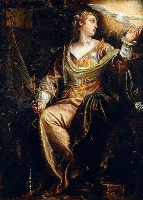 Paolo (Paolo Caliari) Veronese: Die hl. Katherina von Alexandria im Gefängnis, der hl. Geist über ihr schwebend. Um 1580er Jahre