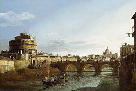 Bernardo (Canaletto) Bellotto: Ansicht Roms in Richtung Westen, mit Booten auf dem Tiber und dem Castel Saint'Angelo in der Ferne