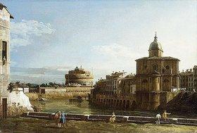 Bernardo (Canaletto) Bellotto: Ansicht Roms am Ufer der Tiber, mit der Kirche San Giovanni dei Fiorentini im Hintergrund