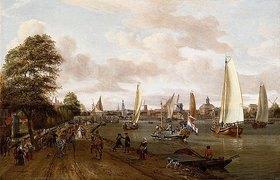 Abraham J Storck: Panorama-Ansicht von Amsterdam mit Schiffen auf der Außen-Amstel