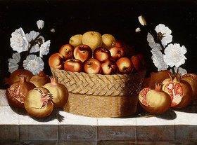 Blas de Ledesma: Äpfel in einem Weidenkorb, Granatäpfel und Malven auf einem Sims