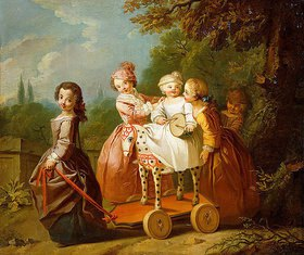 Philippe Mercier: Ein Junge auf einem Spielzeugpferd und andere Kinder in einem Garten