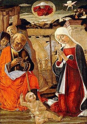 Benvenuto di Giovanni: Christi Geburt mit der Verkündigung an die Hirten im Hintergrund