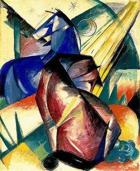 Franz Marc: Zwei Pferde rot und blau