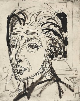 Ernst Ludwig Kirchner: Kirchnerkopf. Tuschezeichung von Ernst Ludwig Kirchner