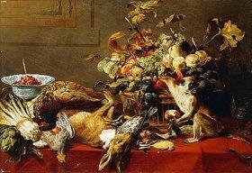 Frans Snyders: Ein Korb mit Früchten auf einem Tisch mit Wild und einem Affen