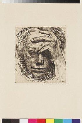 Käthe Kollwitz: Selbstbildnis mit der Hand an der Stirn