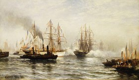 Edward Percy Moran: Der Empfang der französischen Fregatte Isère in der Bucht vor New York am 20. Juni