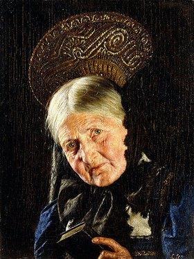 Carl Kronberger: Alte Frau mit einem Buch