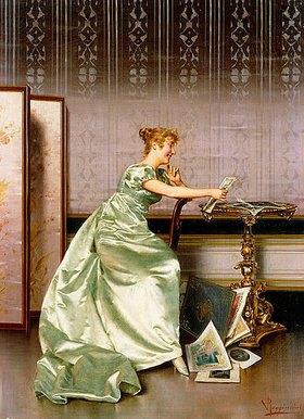 Vittorio Reggianini: Eine elegante Dame bewundert ein Portfolio mit druckgrafischen Blättern