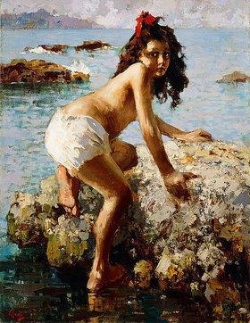Vincenzo Irolli: Ein Mädchen auf einem Felsen (La Bambina sulle Rocce)