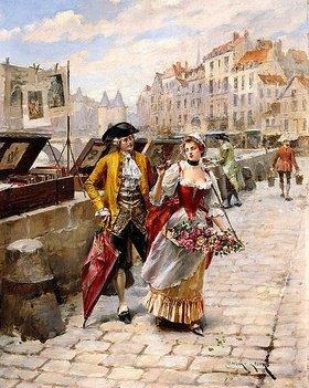 Henri Victor Lesur: Ein Herr und ein Blumenmädchen am Seine-Ufer